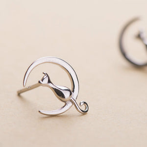Silver Cat C Shape Stud Earrings