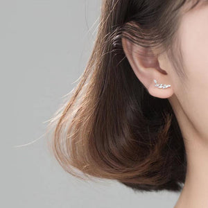 White Gold Plated Silver Floral Ear Cuffs Earring