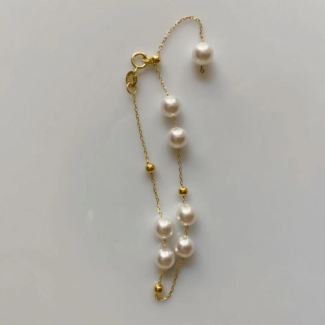 18K Gold Plated Silver Pearl Bead Bracelet Size Adjustable