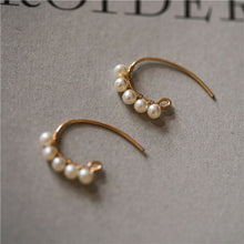 Load image into Gallery viewer, Gold Plated Pearls C Shape Handmade Huggie Earrings