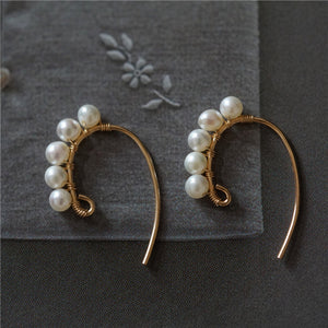 Gold Plated Pearls C Shape Handmade Huggie Earrings