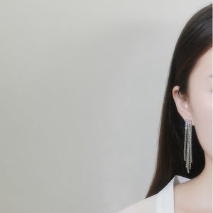 Zircon Cup Chain Gold Plated Tassel Earrings