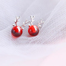 Load image into Gallery viewer, Sterling Silver Red Stone Christmas Reindeer Earrings Ear Stud