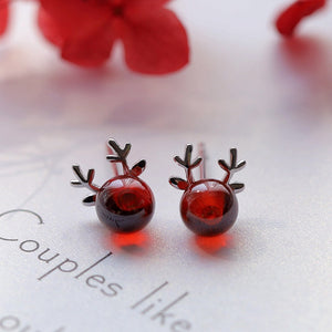 Sterling Silver Red Stone Christmas Reindeer Earrings Ear Stud