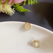 Load image into Gallery viewer, Elegant Gold Plated Cat's Eye Stone Ear Studs Earrings