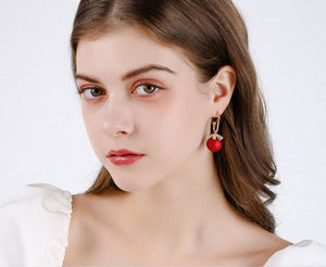 Red and White Chritsmas Bauble Drop Earrings