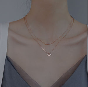 Gold Plated Silver Double Layer Geometric Choker Necklace