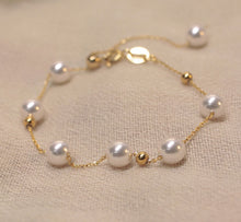 Load image into Gallery viewer, 18K Gold Plated Silver Pearl Bead Bracelet Size Adjustable