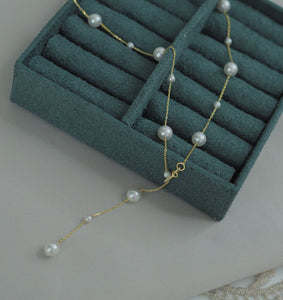 Handmade 14K Gold Plated Silver Pearl Plato Choker Necklace