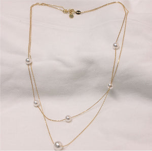 Gold Plated Silver Double Layer Pearl Plato Choker Necklace