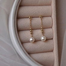 Load image into Gallery viewer, 14K Gold Plated Long Chain Pearl Drop Earrings