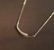 Load image into Gallery viewer, Gold Plated Diamante Mini Curve Necklace