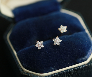 Zircon Flower 925 Silver Stud Earrings