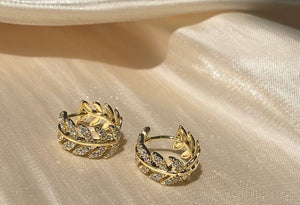Gold Plated Diamante Leaf Earring Huggies