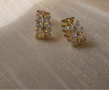 Load image into Gallery viewer, Gold Plated Diamante Leaf Earring Huggies
