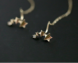 Gold Plated Silver Stars Crawler Cuff Earring