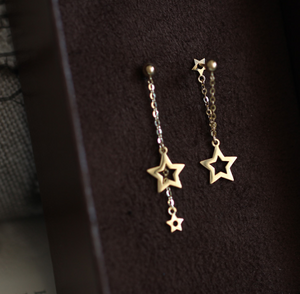 Asymmetric Gold Plated Silver Star Tassel Drop Earring