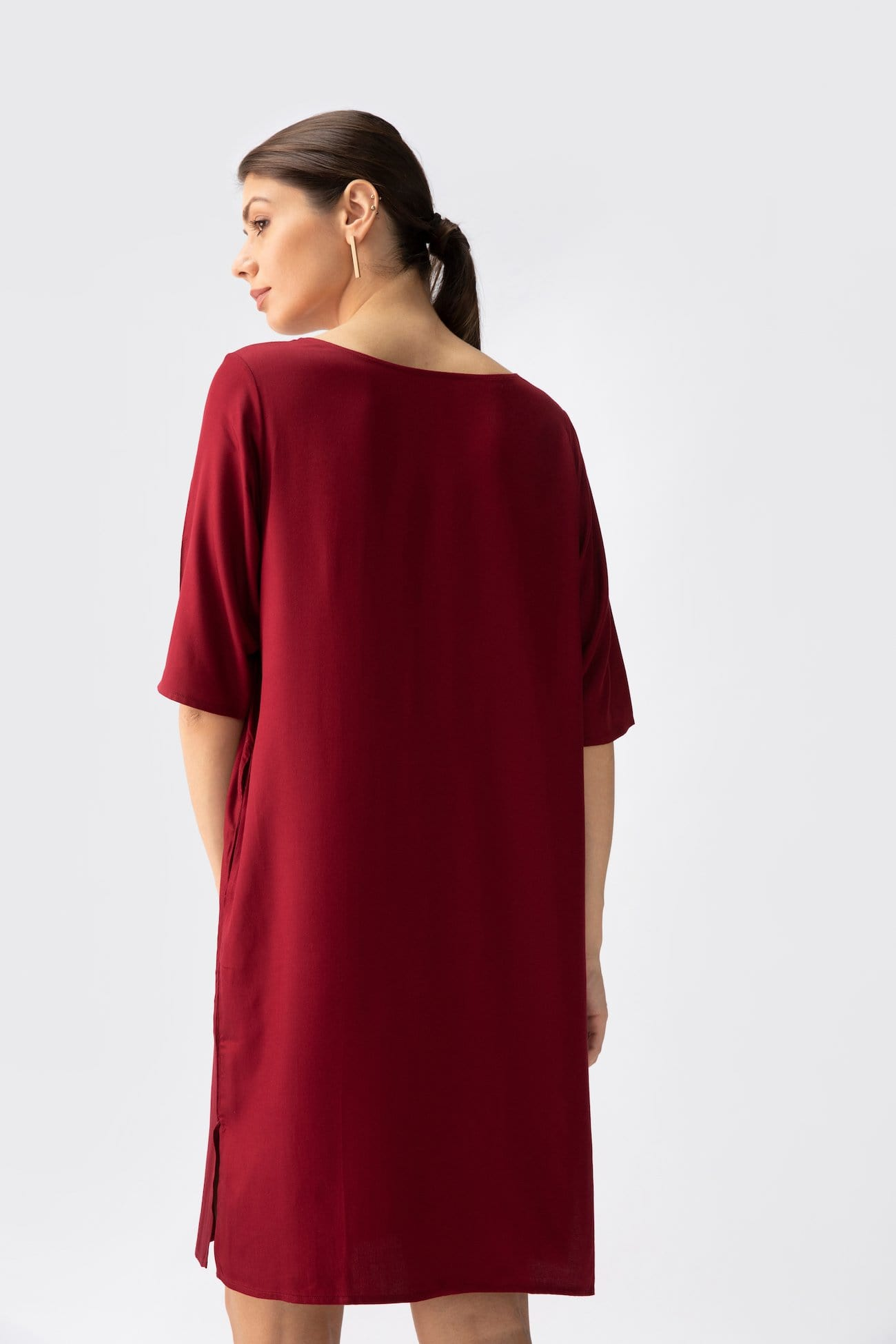 Sack Dress > Maroon