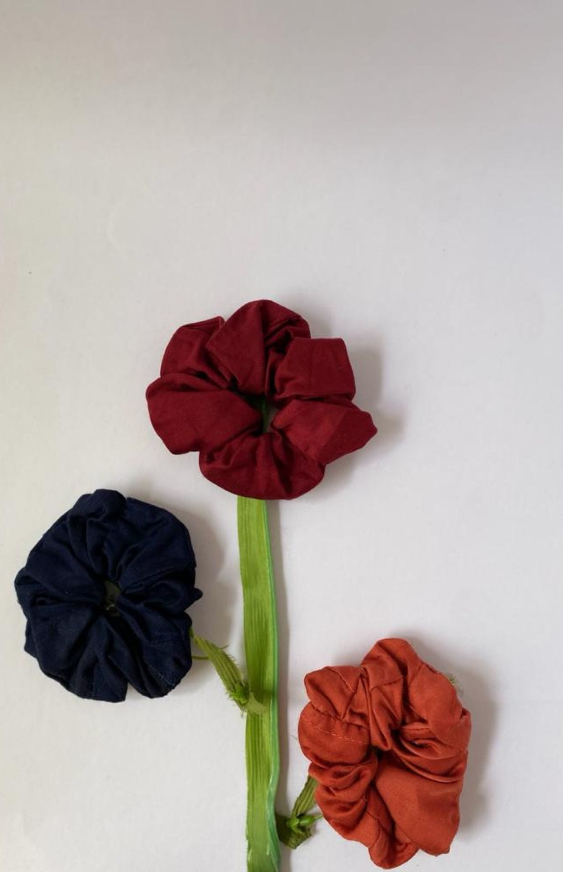 Saltpetre upcyled fabric eco friendly satin scrunchies