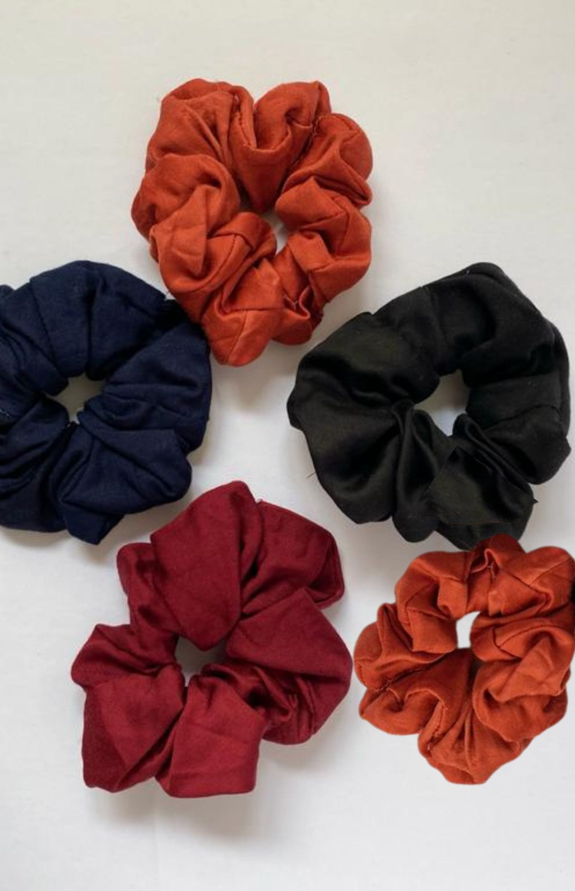 SET OF 3 or 5 SATIN SCRUNCHIES