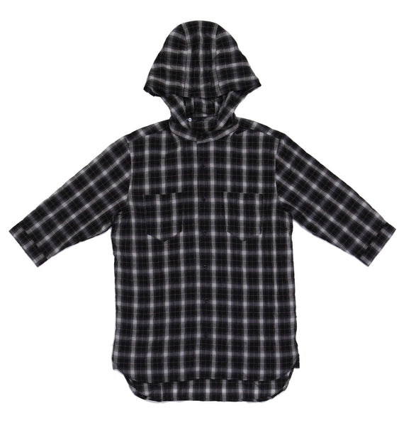 M's Dual Functional Hoodie Shirt - Black White