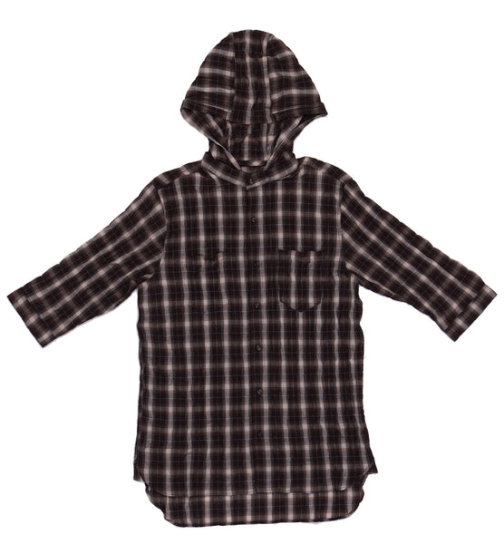 W's Dual Functional Hoodie Shirt - Brown White