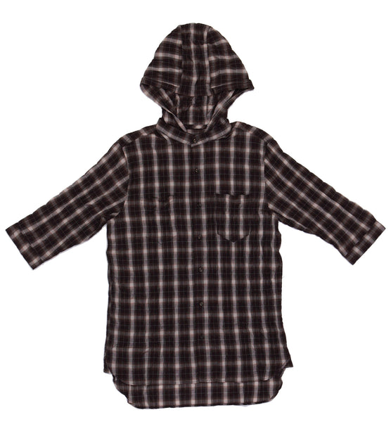 M's Dual Functional Hoodie Shirt - Brown White