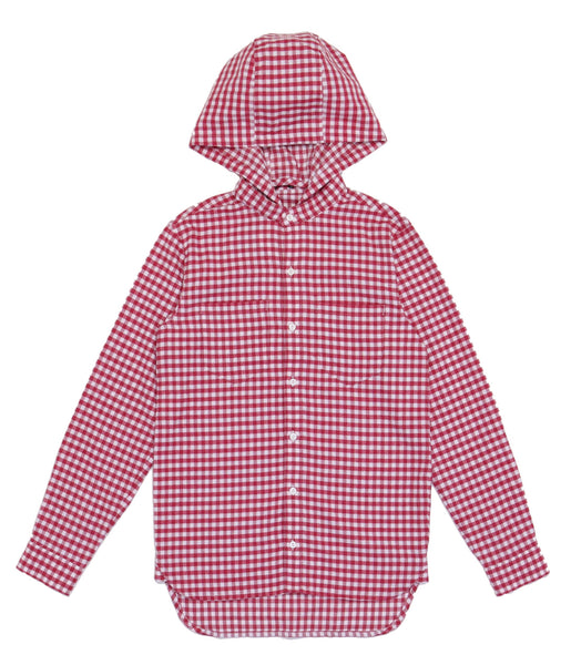 HOODY SUEDE COMMUTING SHIRT - RED WHITE CHECK