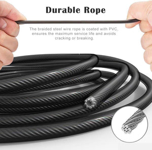 "BLACK Jump Rope, LT Skipping Rope Tangle-Free with Ball Bearings Rapid Speed Jump Rope Cable and 6"" Memory Foam Handles Ideal for Aerobic Exercise Like Speed Training, Endurance Training and Fitness Gym"