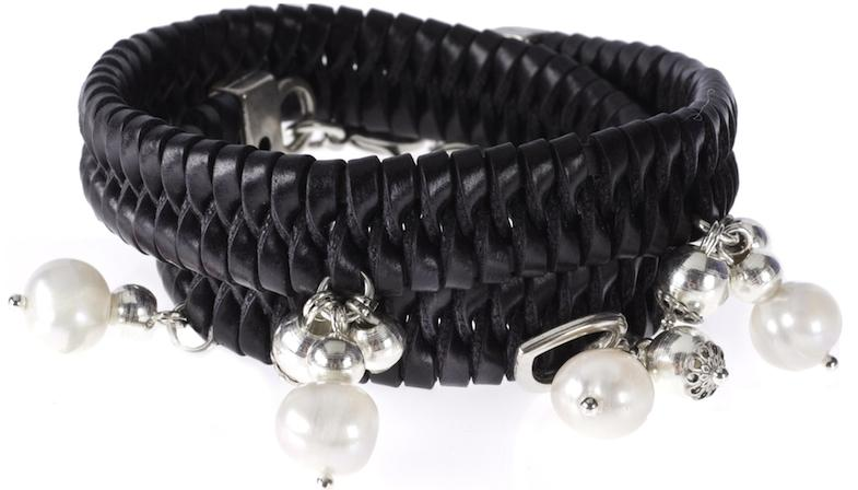 Bibi Bijoux Black Plaited Leather Wrap Bracelet With Pearl and Bead Clusters