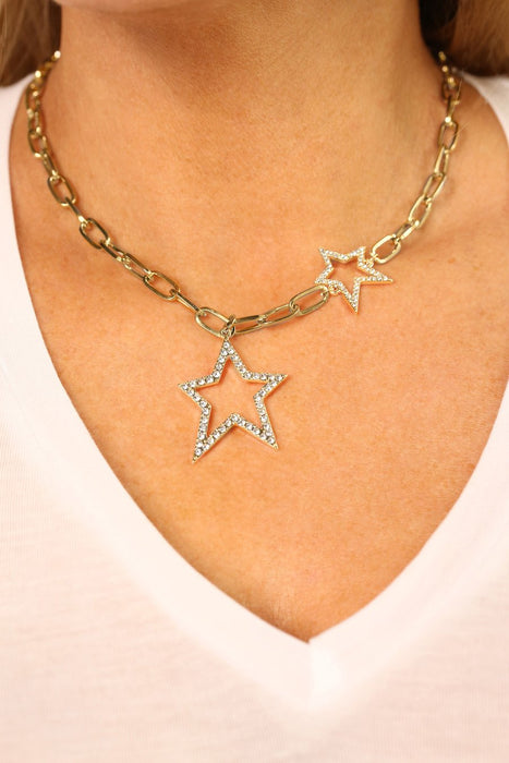 Kate Thornton 'Starry Night' Gold Crystal Double Star Necklace