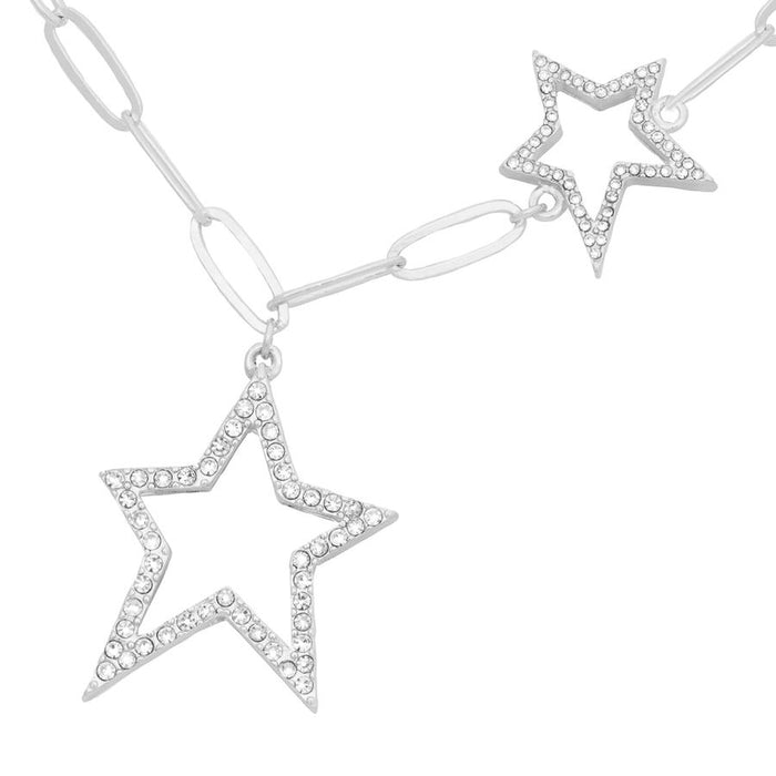 Kate Thornton 'Starry Night' Silver Crystal Double Star Necklace