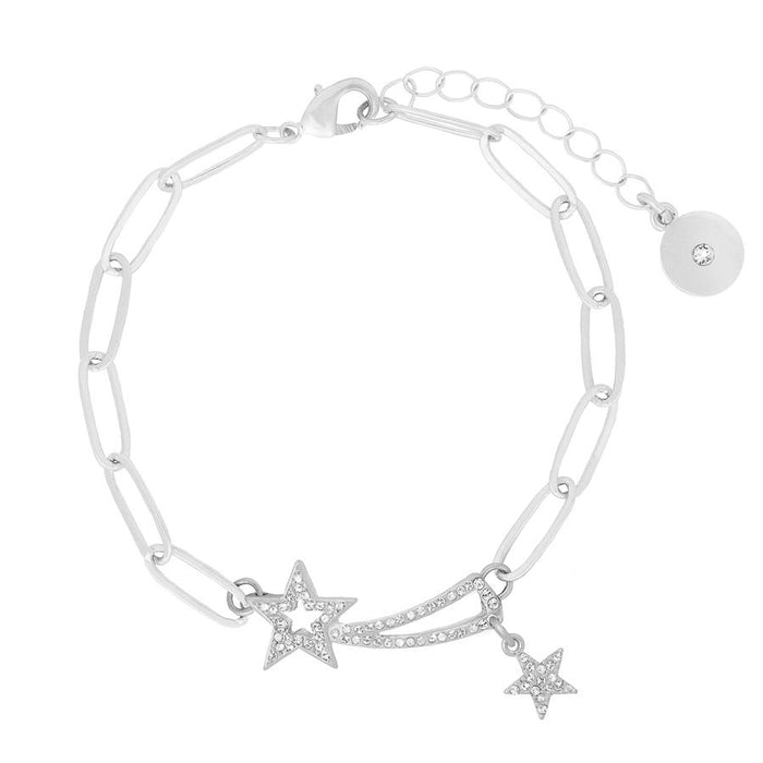 Kate Thornton 'Shooting Stars' Silver Layered Bracelet