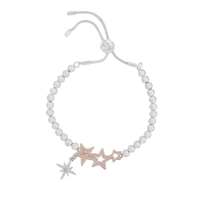 Kate Thornton Three Star Silver and Rose Gold Friendship Bracelet