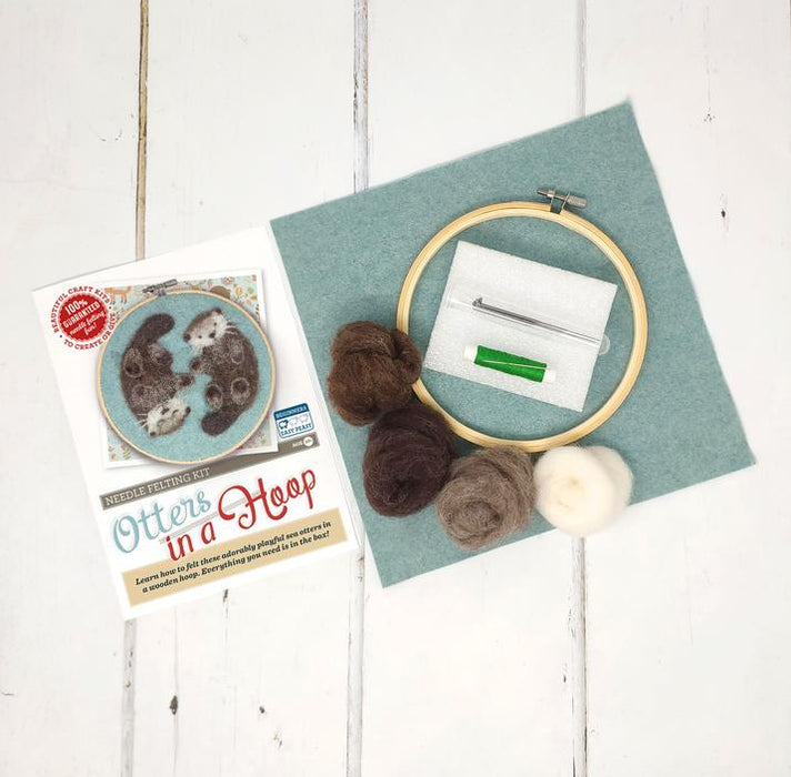 The Crafty Kit Company - Otters in a Hoop - Needle Felting Kit