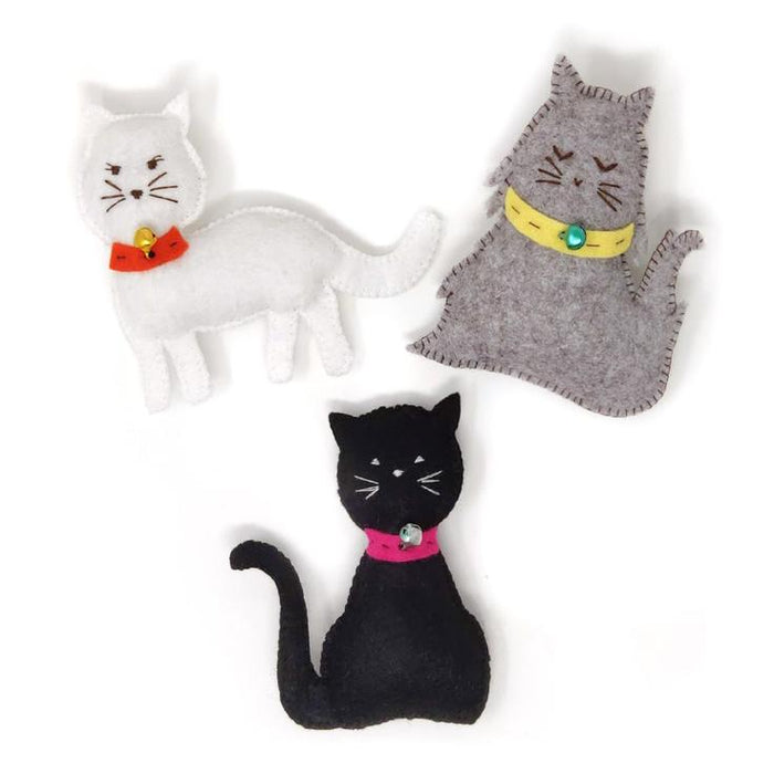 The Crafty Kit Company - 3 Felt Kitties - Sewing Kit