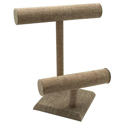 Jute T-Bar Necklace and Bracelet Stand