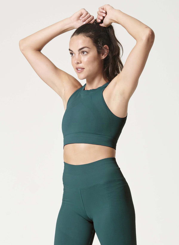 one by one workout crop top in Sierra green - side view - Jaclyn Wood
