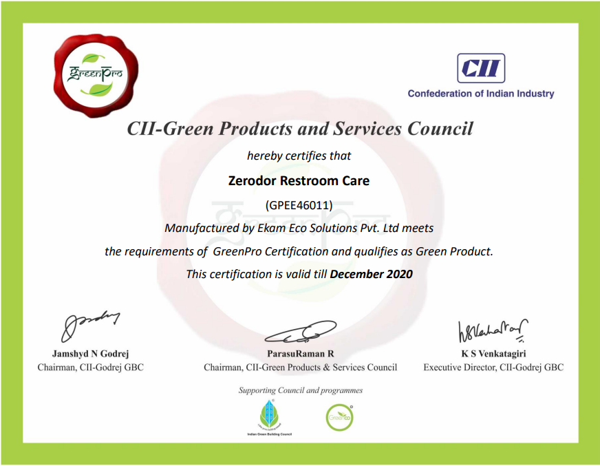 Green Pro Restroom Care Certificate