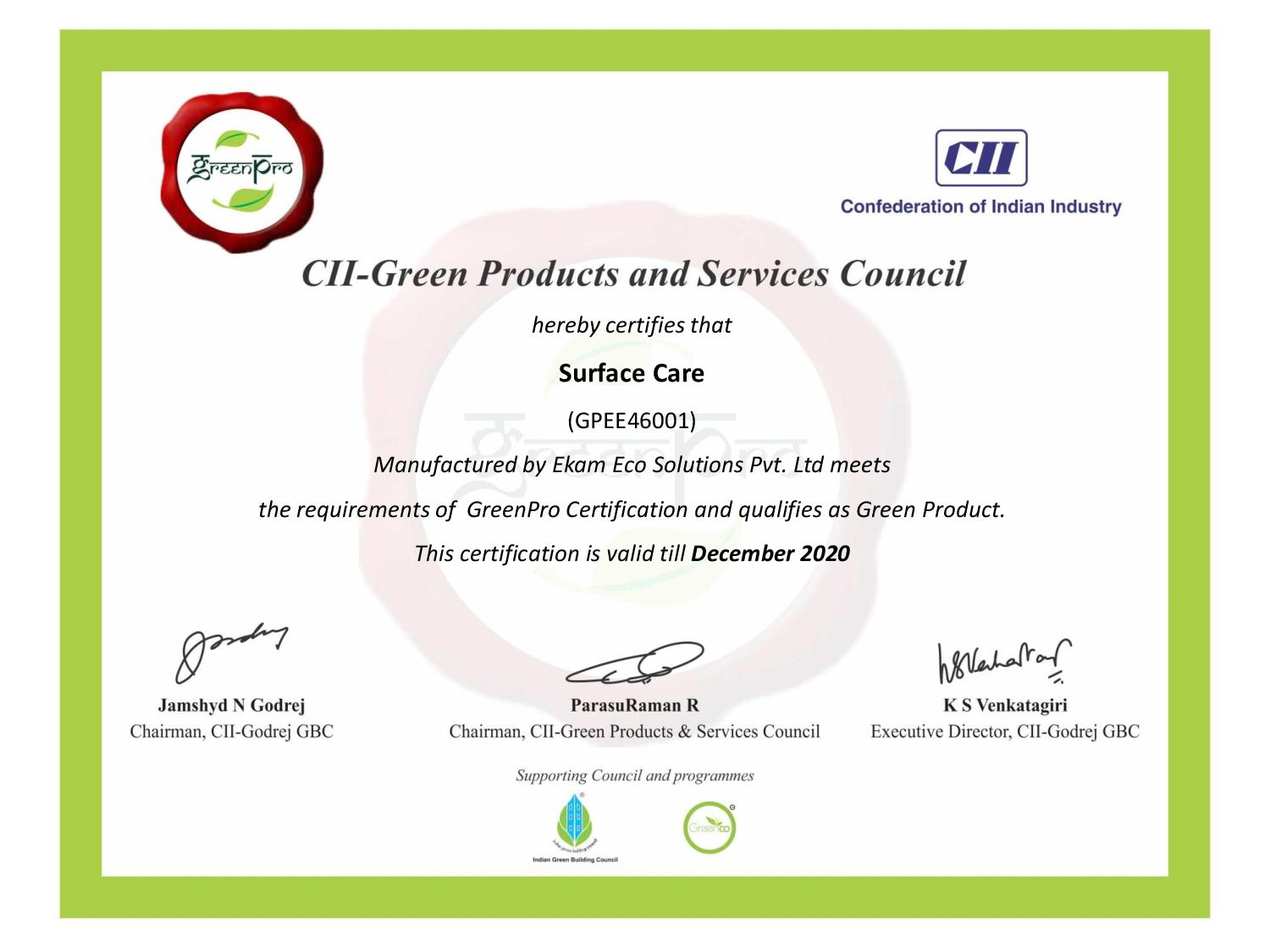 Greenpro Surface Care Certificates