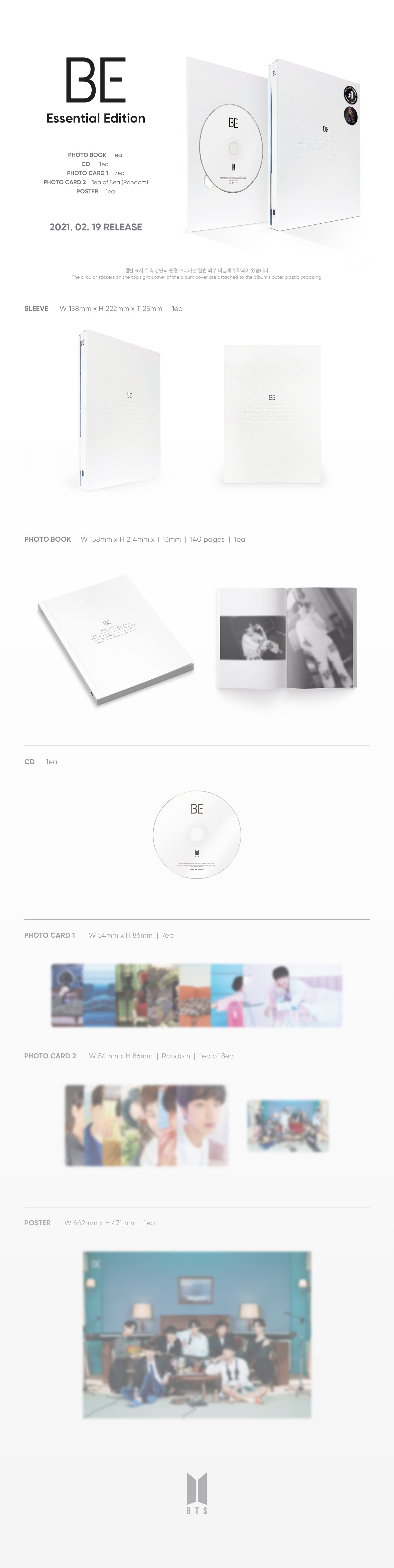 [Pre Order] BTS - BE [Essential Edition] Product Details