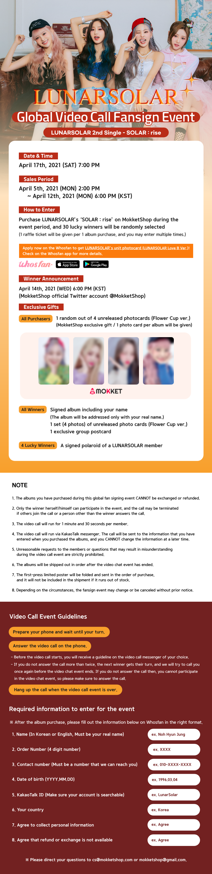 LUNARSOLAR 2nd Single SOLAR : rise global online video call fansign event