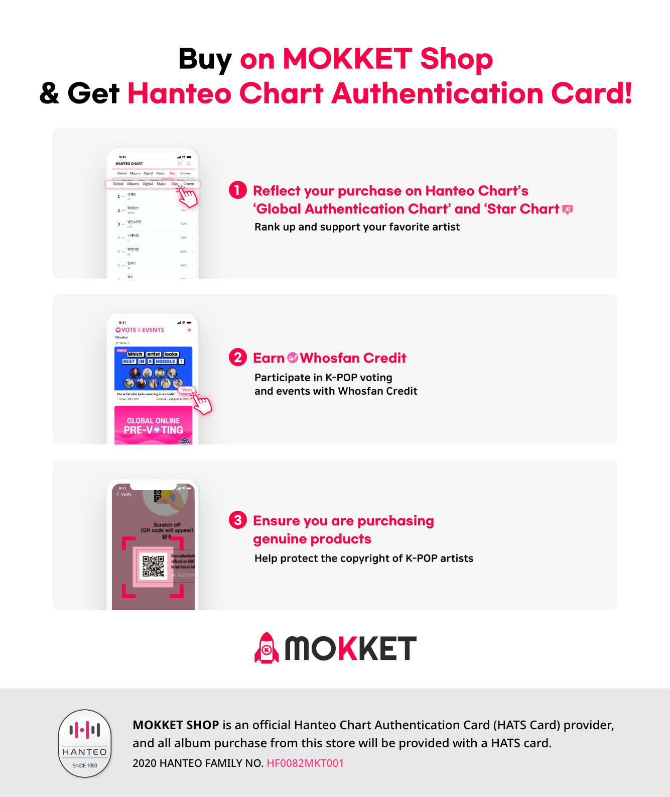 Buy on Mokket Shop and get Hanteo Chart Authentication Card!