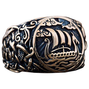 Bague mythologie viking Drakkar bronze style Mammen