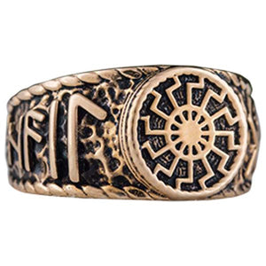 Bague viking en bronze Soleil noir faite à la main