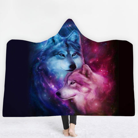 Papa and Mama Wolf 3D Hoodie Blanket