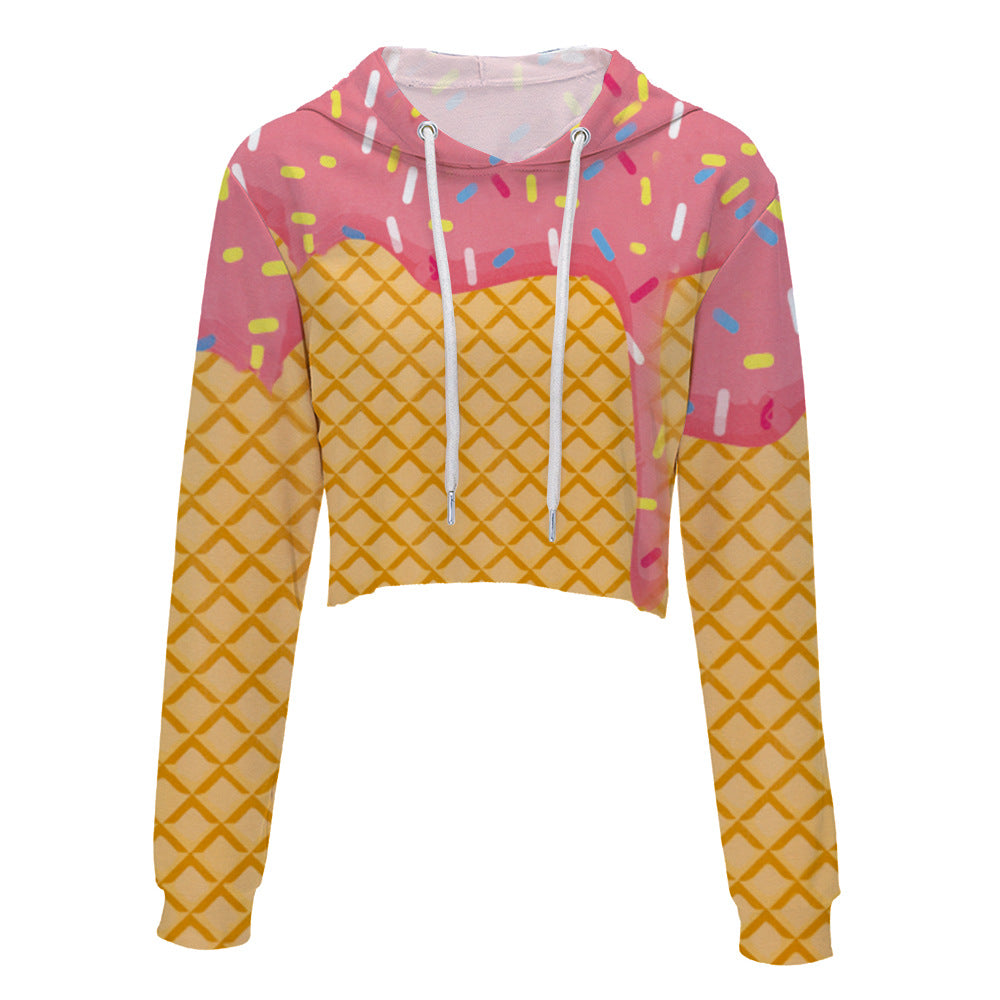 Ice Cream Cropped Hoodie 3D Printed