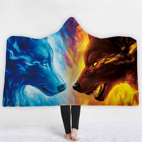 Fire And Ice 3D Hoodie Blanket