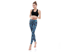 Blue Palm Leggings
