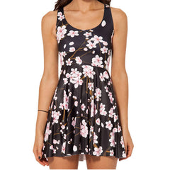 Black Cherry Blossom Skater Dress